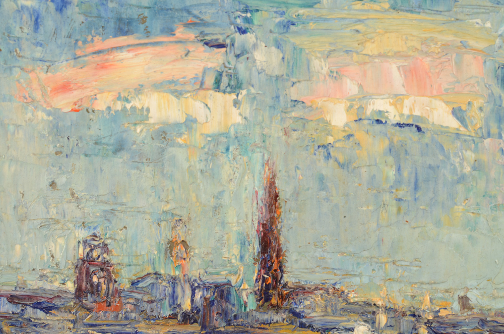 Jack Godderis — Detail of the painting, with the paint applied with the palette knife