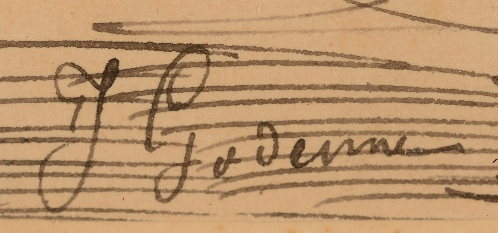 Jean Godenne Drinking Horses — Signature