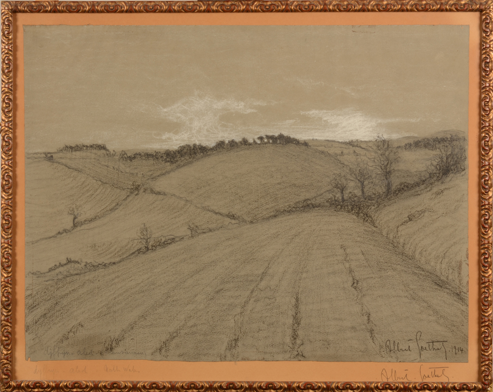 Albert Goethals — A rare drawing of a North-Welsh landscape by this artist from Bruges
