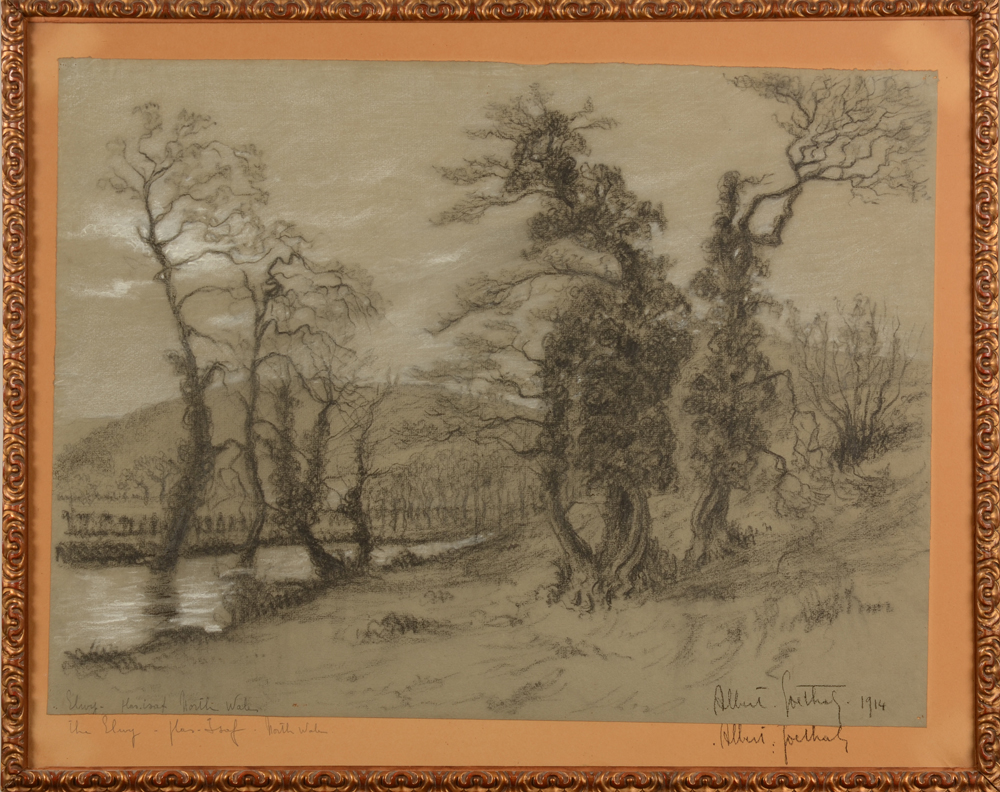 Albert Goethals — Rare drawing of the river Elwyn in North-Wales, 1914<br>