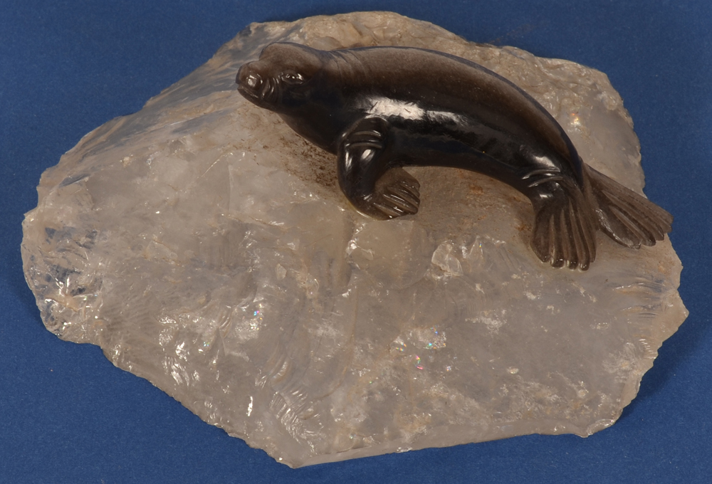Hard stone seal — on a rock cristal base, view from above