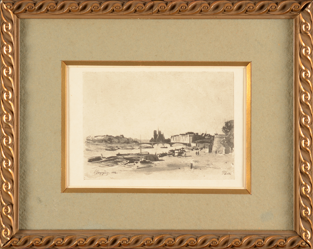 Henri Harpignies — Print, possibly around 1900, in its original frame