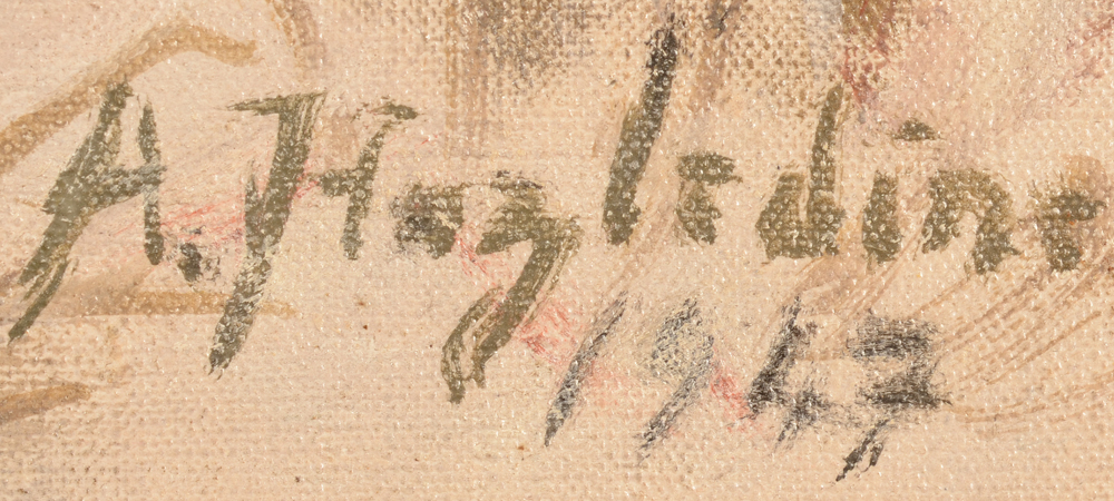 Alfred Hazledine — Signature of the artist and date bottom right.
