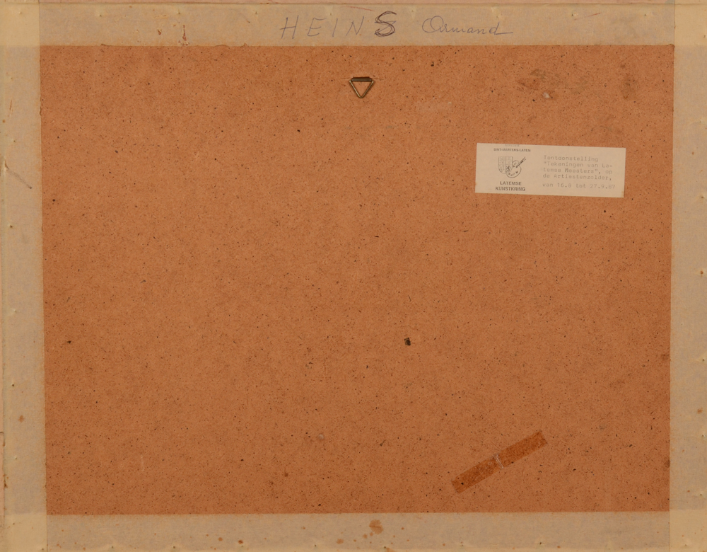 Armand Heins — Back of the drawing with exhibition label