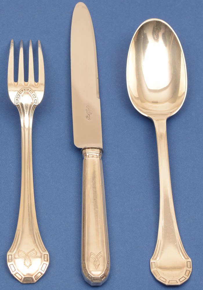 Henin et Co  — Large fork, lenght 20,7 cm, knife 24,5 cm and spoon 21 cm (fork showing back)