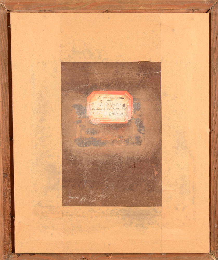 André Hennebicq — Back of the panel, with an old label of a previous owner