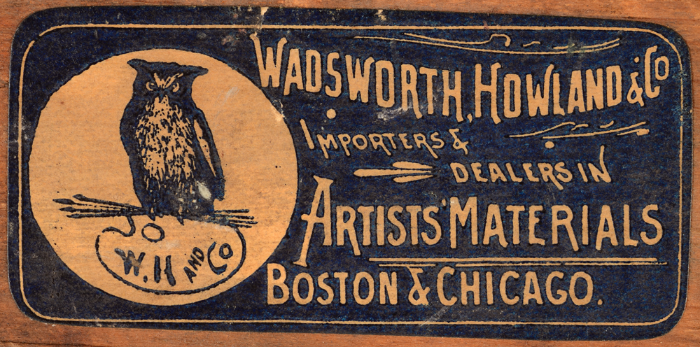 Valentin Henneman — Label at the back of the strecher of Wadsworth, Howland & Co., dealers in artists materials from Boston and Chicago