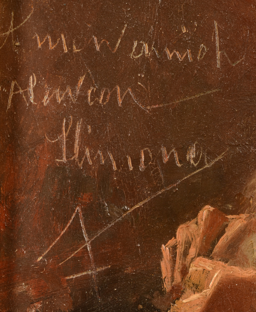 Nicolas P. Himona — Signature and dedication, middle left, scratched into the wet paint