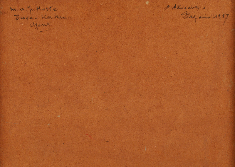 Marcel Hoste — Back of the painting, with the artists signature, title and date of the work.