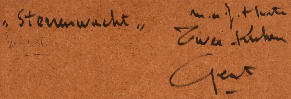 Marcel Hoste — Signature of the artist and his adress, and title written on the back