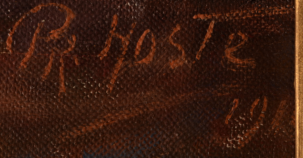 Constant Prosper Hoste — Signature of the artist and date 1911, in part obscured by the frame.