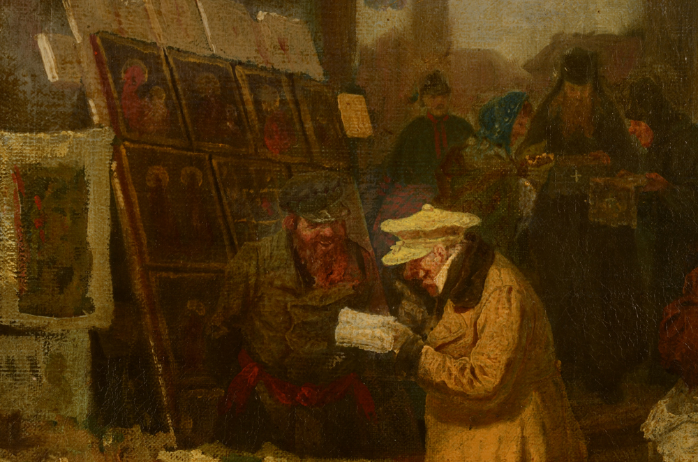 Unknown Russian (?) artist — Deatil of the Icon stall and an interested tourist (?)