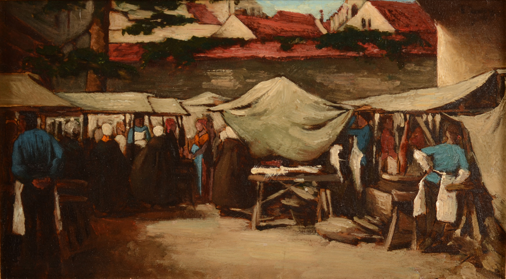 Josse Impens — A view of a market in Brugge