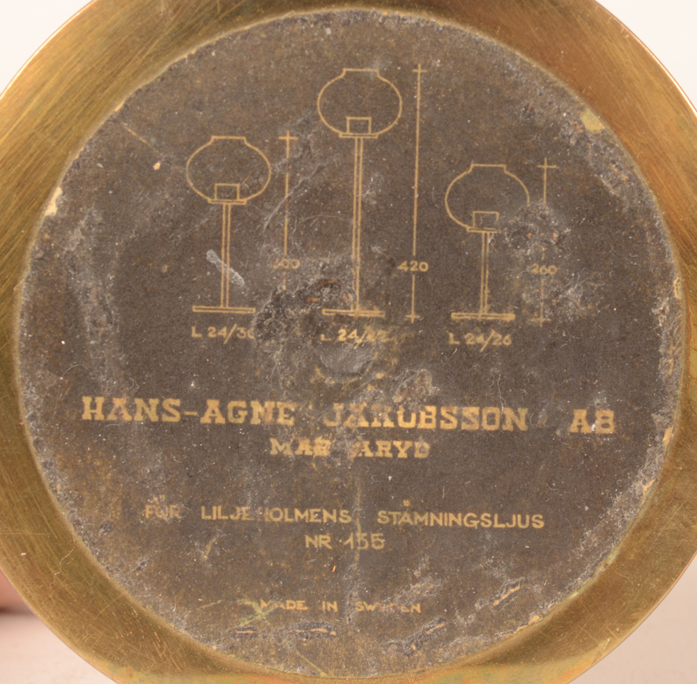 Hans-Agne Jakobsson — Original label on the bottom of the base