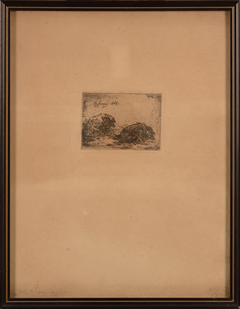 Charles Emile Jacque — The etching, full margins, in its frame