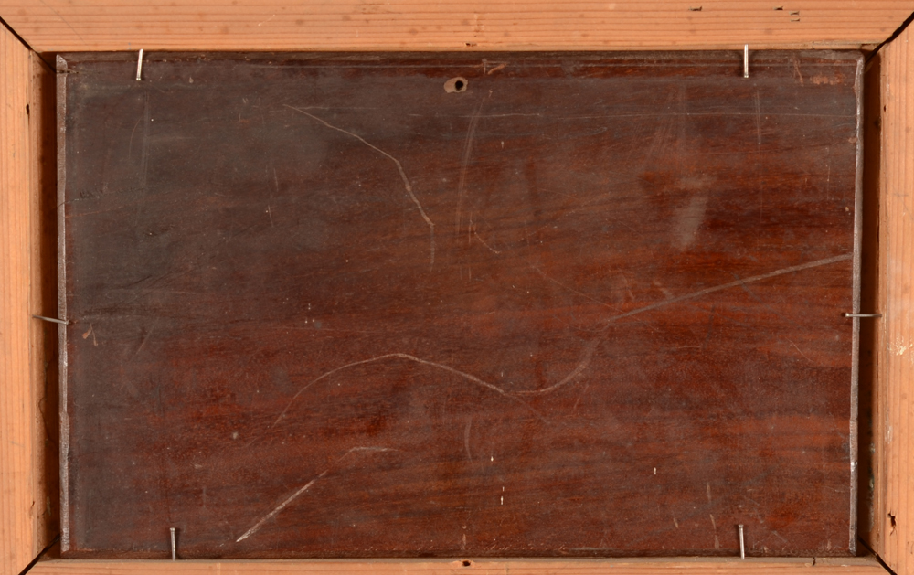 Charles Jacque — Back of the mahogany panel