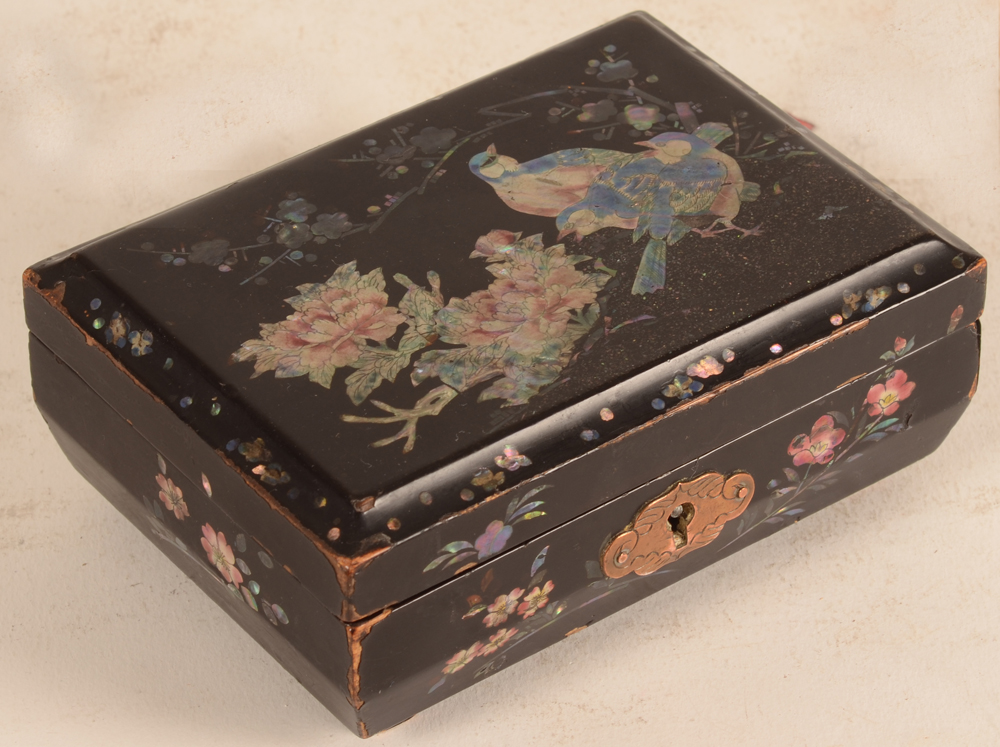 Japanese laquer box — side view, showing the wear tot the edges