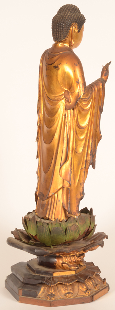 Japanese buddha — <p>View of the left hand side of the statue</p>