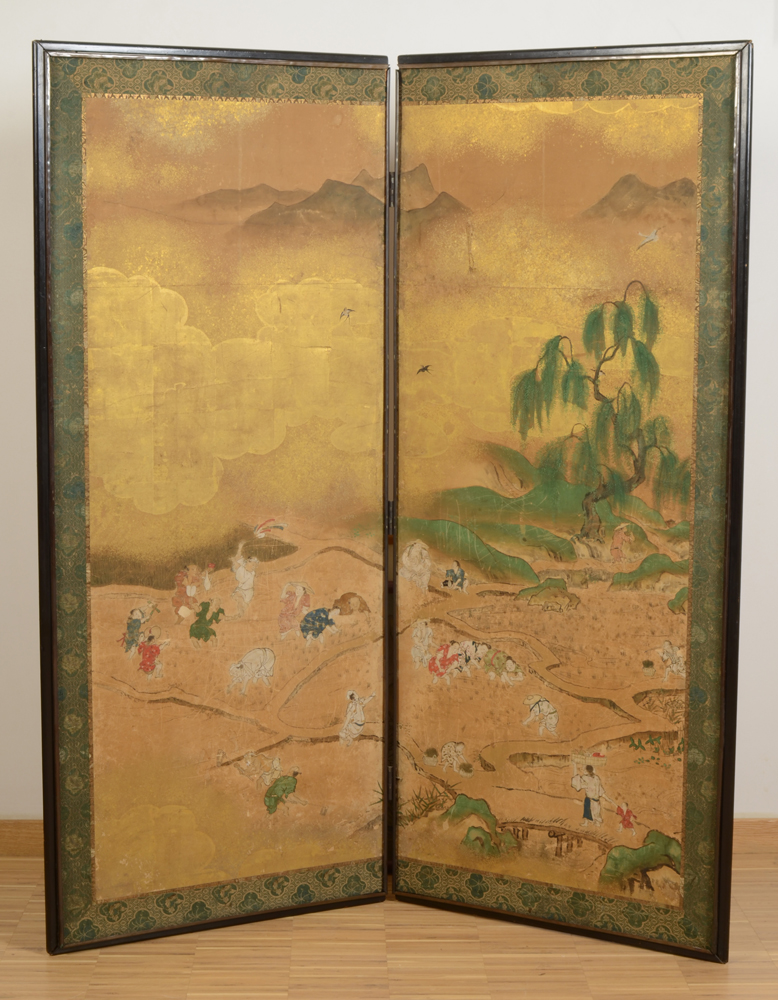 Japanese two-fold screen — depicting the transplanting of the rice.