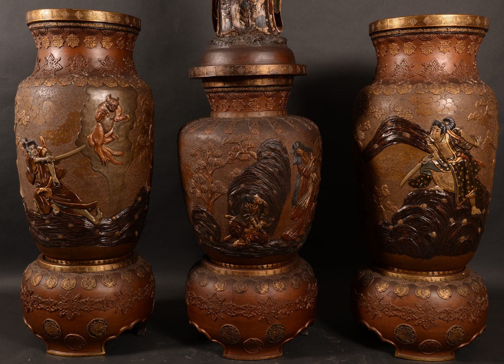 Japanese terracotta vases