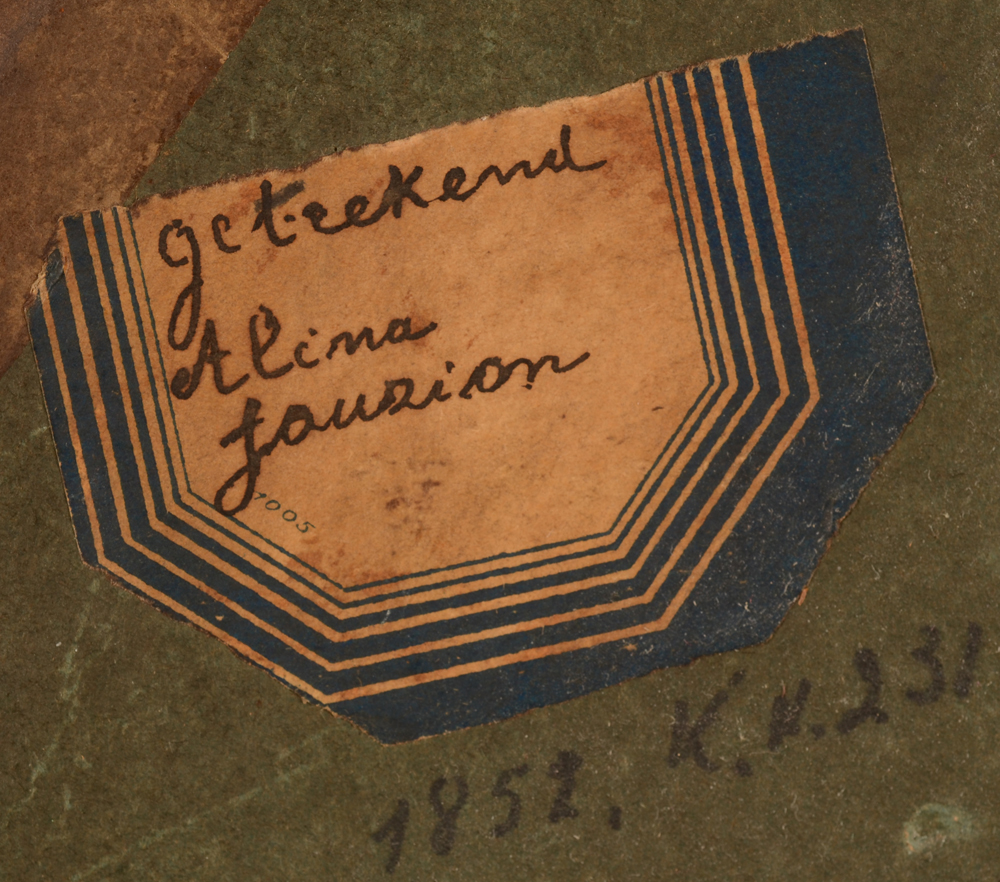 Aline Jauzion — Another label and an inscription with a possible date of 1852?