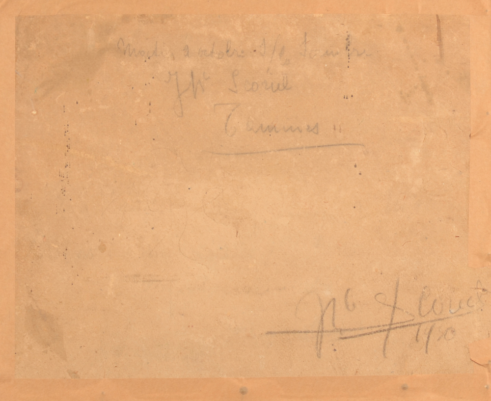 Jean Baptiste Scoriel — Back of the painting with inscription in pencil by the artist and signature