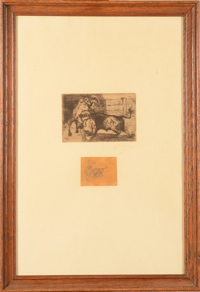 Jean Delvin Picador Etching and Drawing — The drawing mounted onto the etching paper