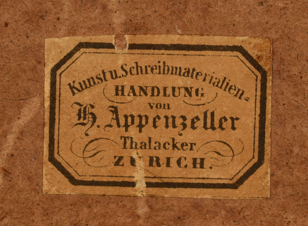 Arnold Jenny — Detail of the label of the frame maker