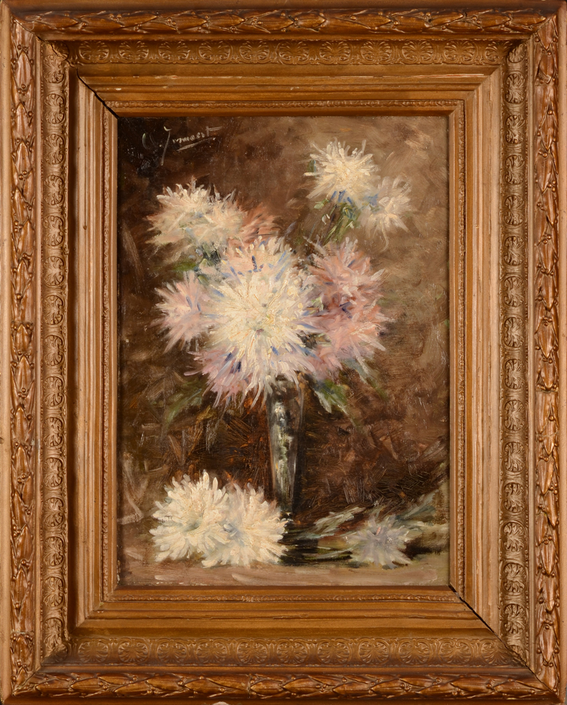 Clemence Jonnaert — Chrysanthemums, oil on canvas, one of a pair of flower paintings