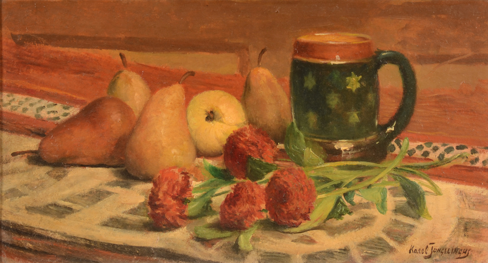 Karel Jongelinghs dahlias and pears — Nature morte aux dahlias et poires