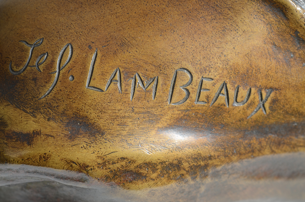 Jef Lambeaux — Signature of the artist on the shoulder of the bust.
