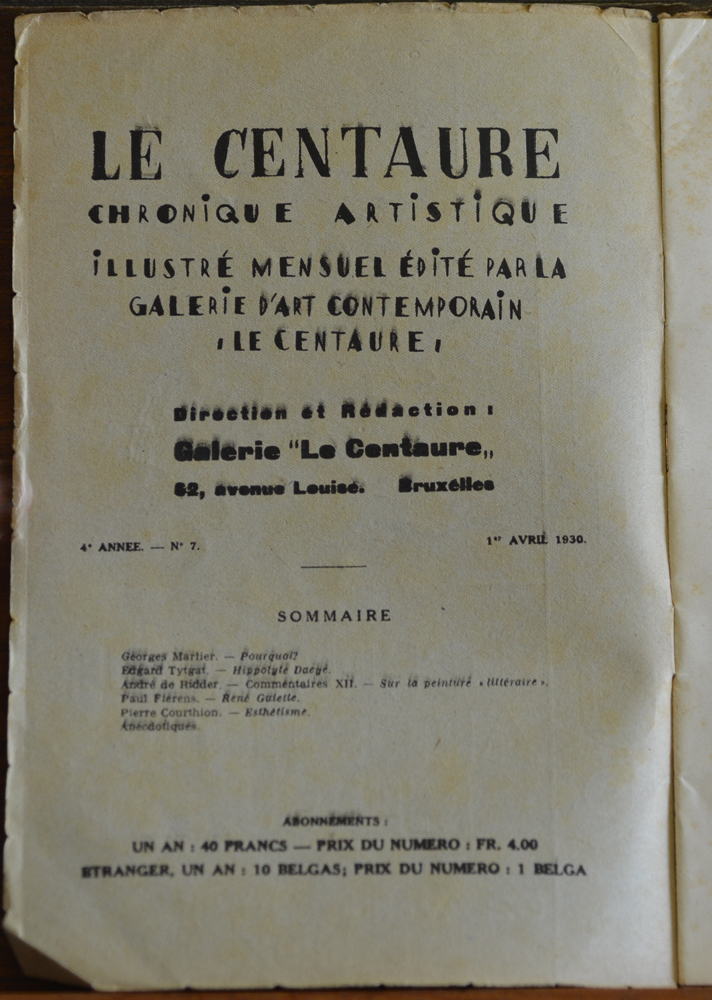 Le Centaure Avril 1930 — colophon of the magazine<br>