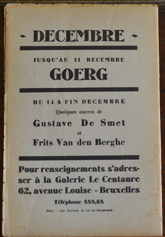 Le Centaure Decembre 1929 — Back of the magazine