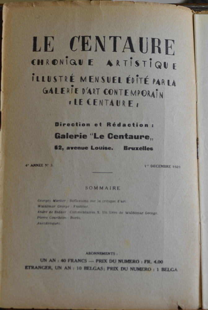 Le Centaure — Colophon of the magazine, photographs of works by Derain, Picasso, Fautrier, Goerg, Bores, Braque, Vlaminck