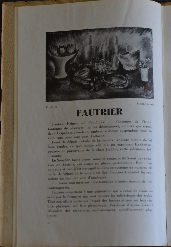 Le Centaure Decembre 1929 — Article on the early work by Jean Fautrier