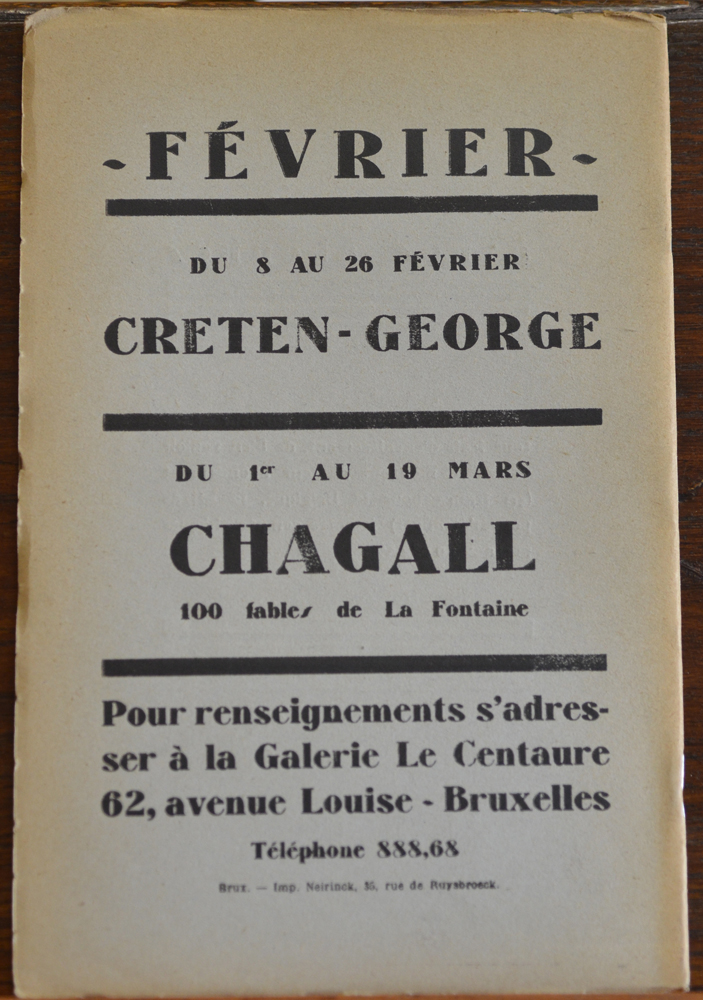 Le Centaure Fevrier 1930 — Back of the periodical with photographs of works by Grosz, Modigliani, Chagall and Jacques Mauny