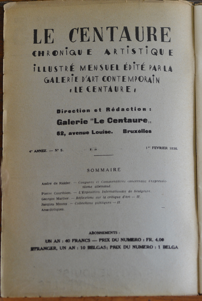 Le Centaure Fevrier 1930 — Colophon of this rare and important issue