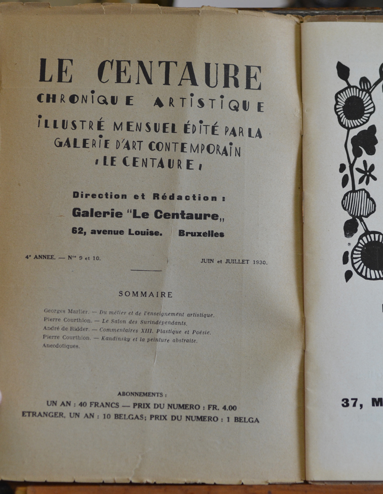 Le Centaure Juin-Juillet 1930 — Colophon of the magazine