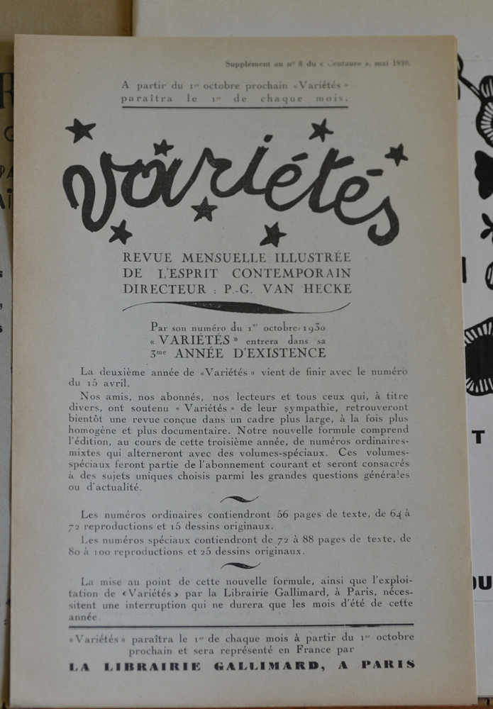 Le Centaure Mai 1930 — Subscription form for Varietes inserted in this issue<br>