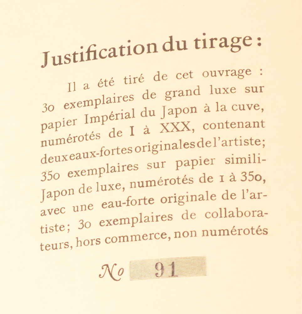 Gregoire Le Roy — Justification of this copy, number 91 of 350.