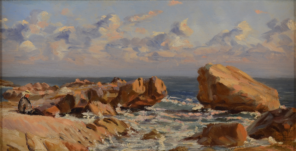 Georges Lebacq — Costal view with rocks, possibly the region of Antibes or Cagnes-sur-Mer.