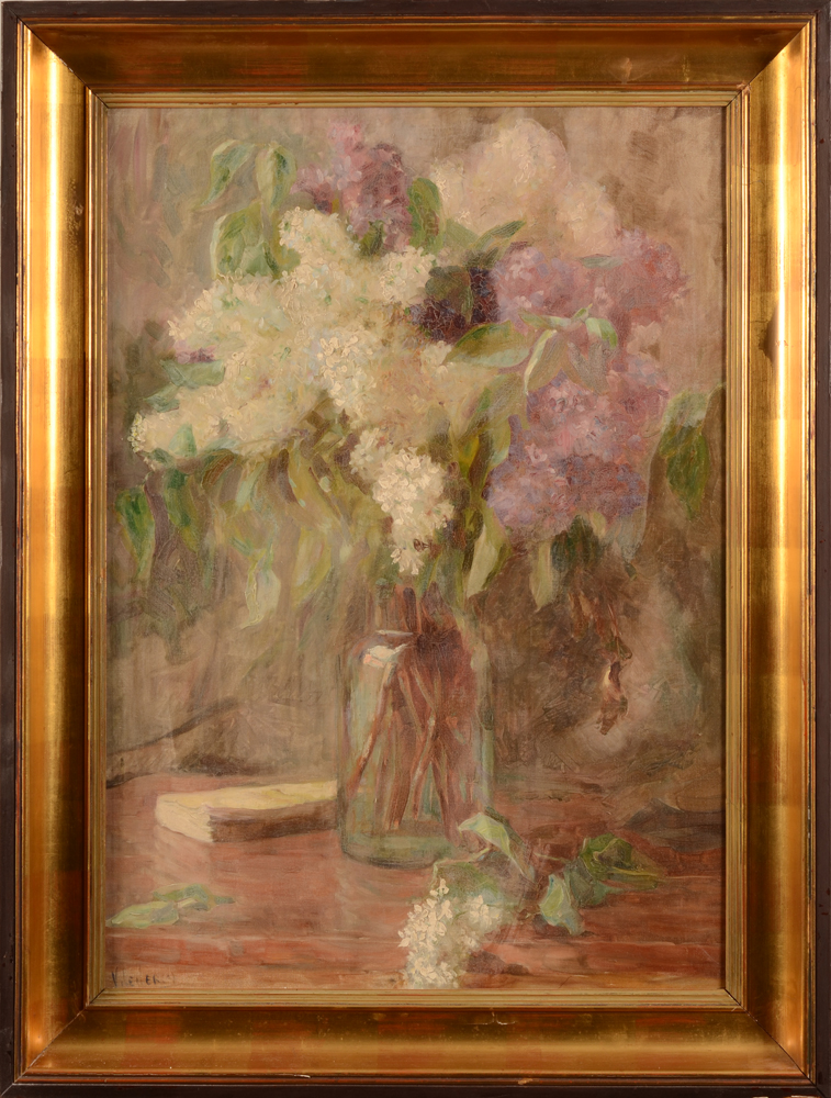 Victor Leclercq  — Jasmine blossom in a vase, oil on canvas