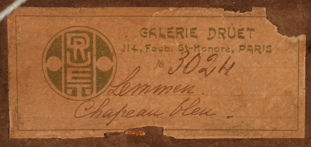 Georges Lemmen — Detail of the Druet label at the back