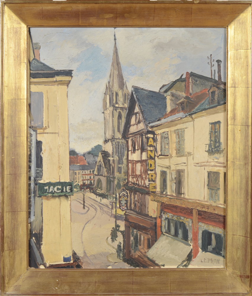 Marcel Leprin — A view of the historical centre of Caen in 1930, before the destruction of WO II.
