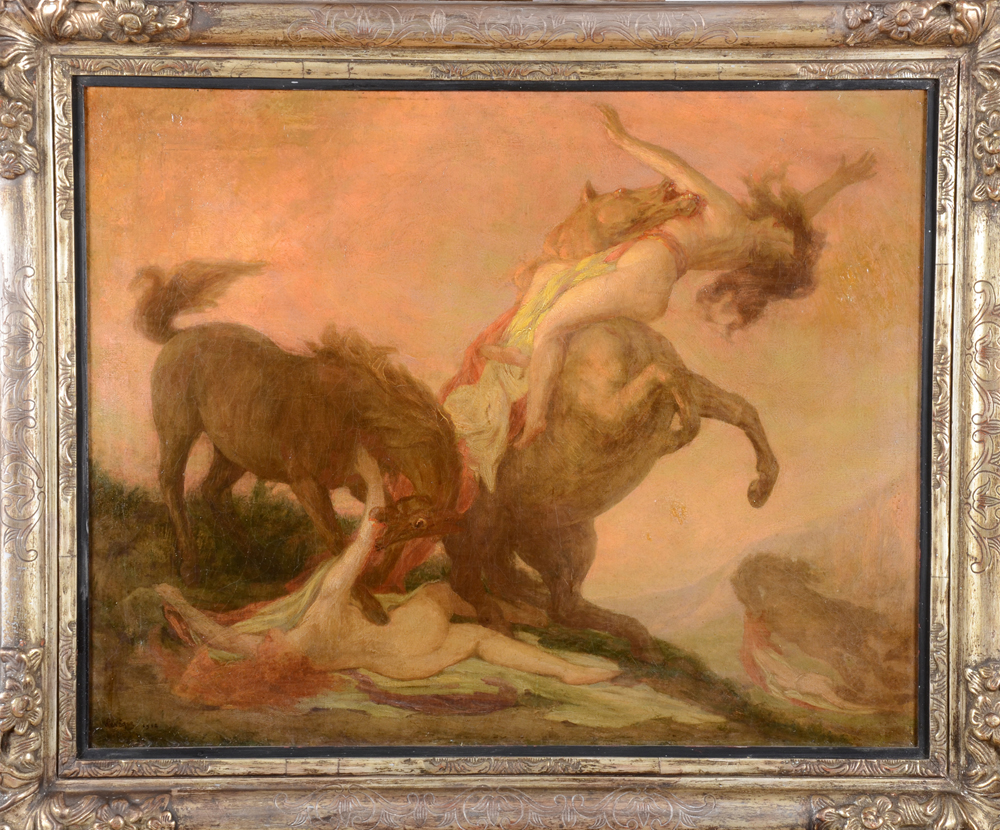 Auguste Leveque — The horses of Diomedes, a symbolist oil on canvas.