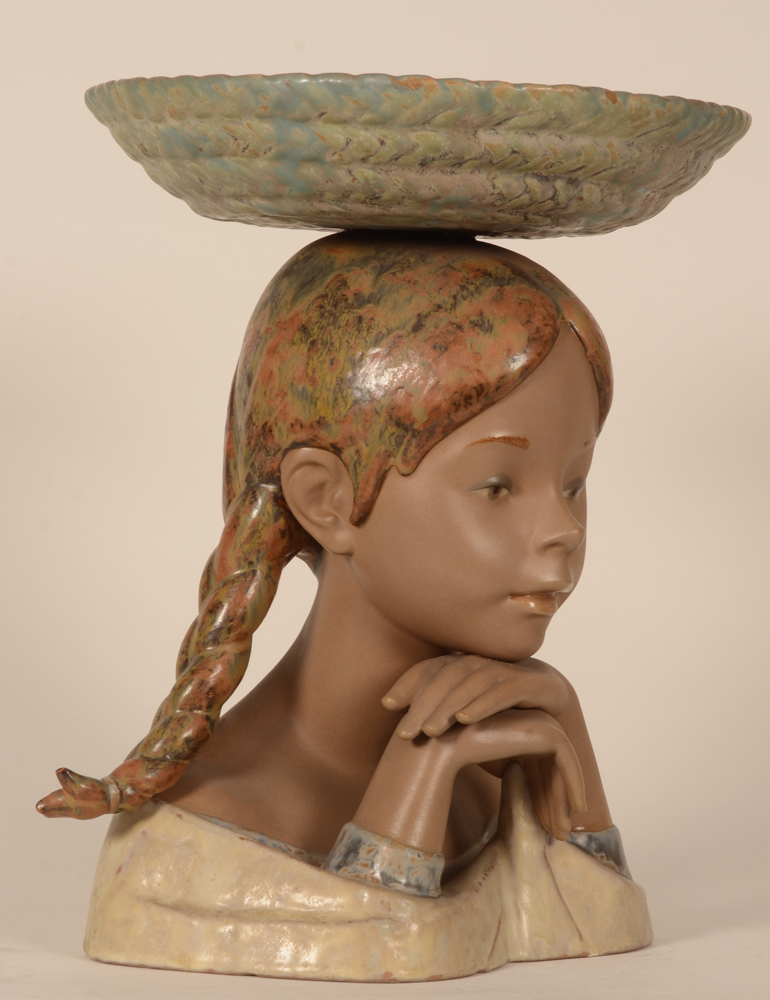 Lladro bust girl with basket — side view of the sculpture