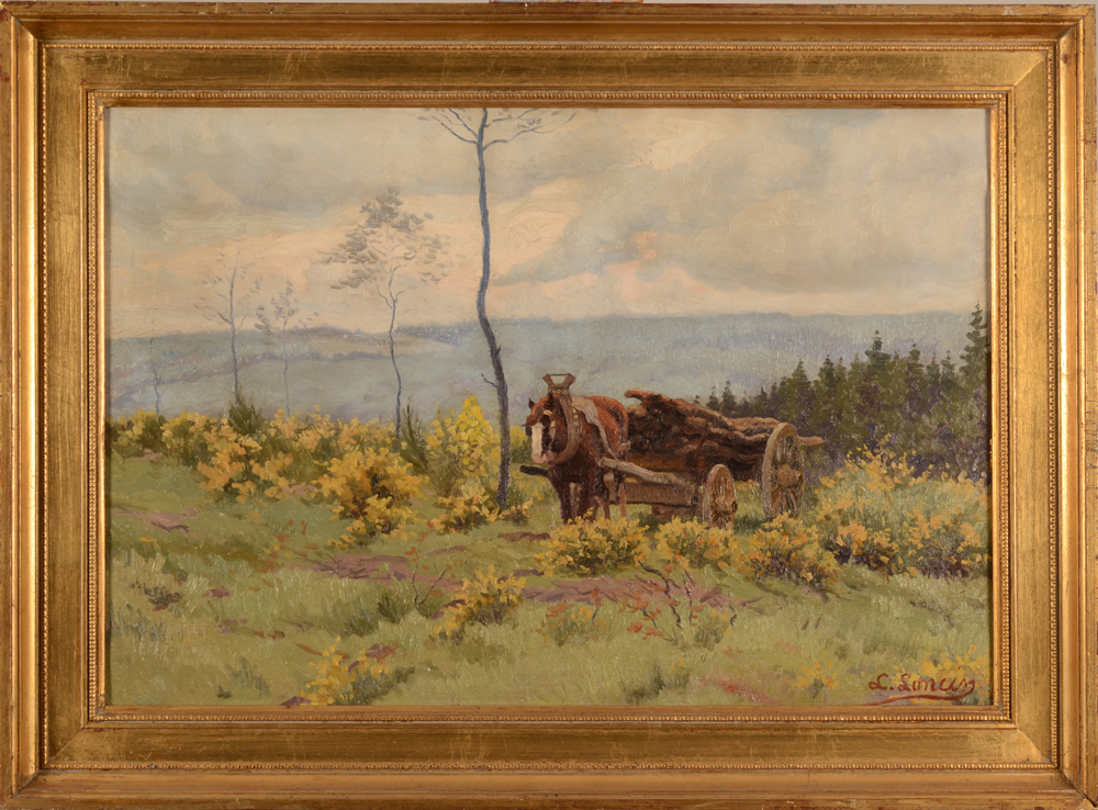 Louis Loncin landscape in the Ardennes — with the original frame