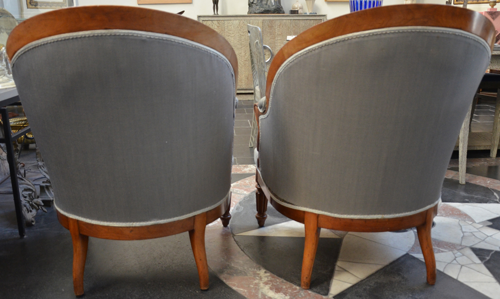 A pair of Louis-Philippe mahogany arm chairs — <p>Back of the chairs</p>