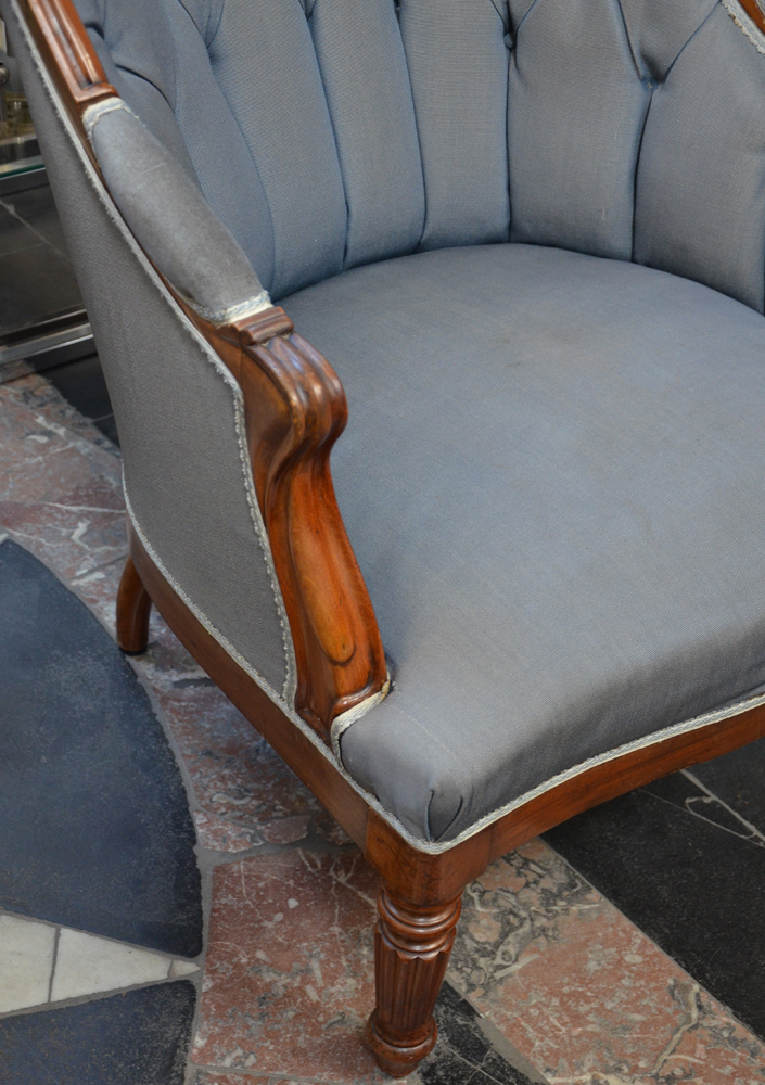 A pair of Louis-Philippe mahogany arm chairs — <p>Detail of the armrest</p>