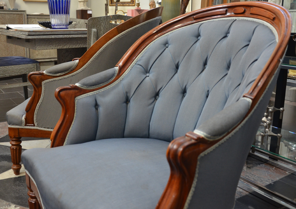 A pair of Louis-Philippe mahogany arm chairs — <p>Detail of the top of the chairs</p>